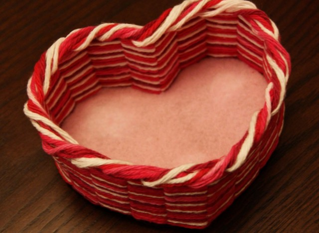 Valentines Day Craft Make A Heart Shaped Yarn Basket To