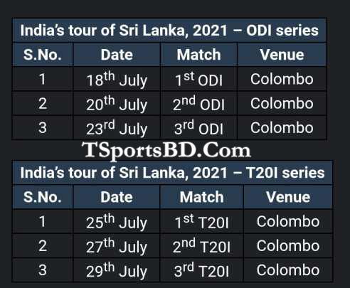 Bangladesh VS Sri Lanka MAtch Schedule 2021