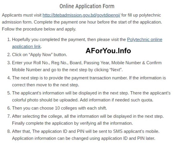 Polytechnic Admission Apply Online