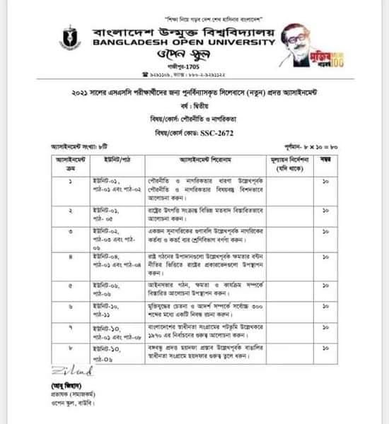 Bangladesh Open University BOU SSC Assignment Answer 2021 Pdf download 51