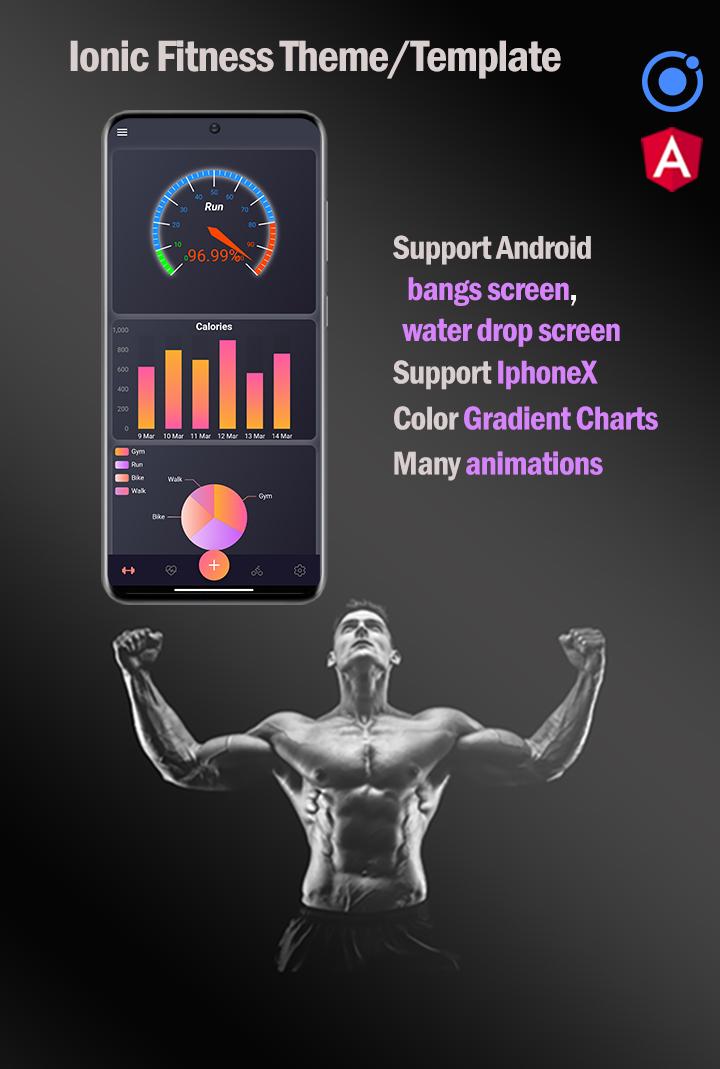 Ionic 5 / Angular 11 Fitness  Template/Full App   Starter App