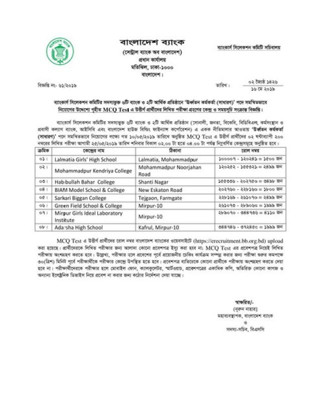 Combined-8-Bank-Senior-Officer-Written-Exam-Seat-Plan-2019