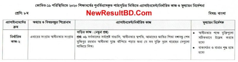Class 8 Bangla 6th Week Assignment Question & Solution