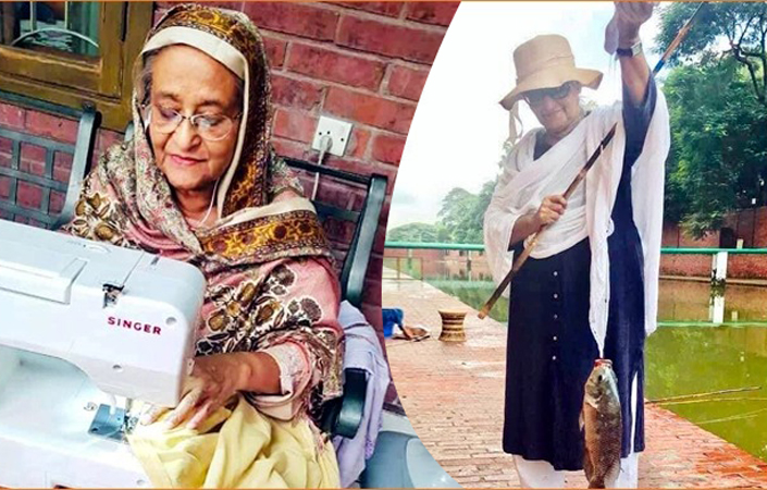 অবসরে মাছ ধরছেন এবং সেলাই করছেন প্রধানমন্ত্রী