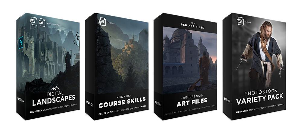 box lineup sales digital landscapes photoshop video training