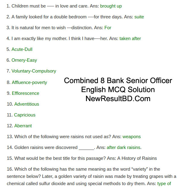 Combined 8 Bank Senior Officer English Question Solution