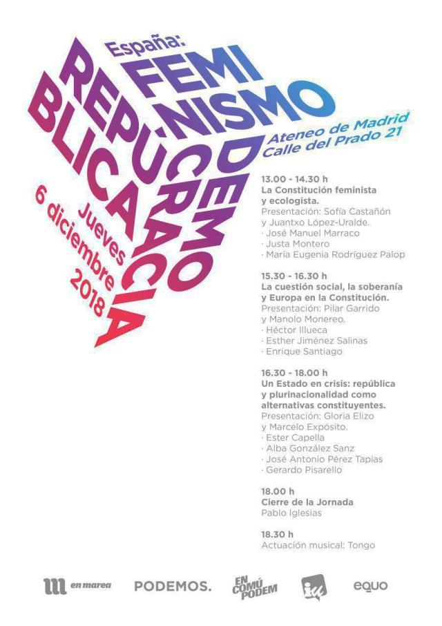 Unidos Podemos organiza una jornada alternativa el Día de la Constitución