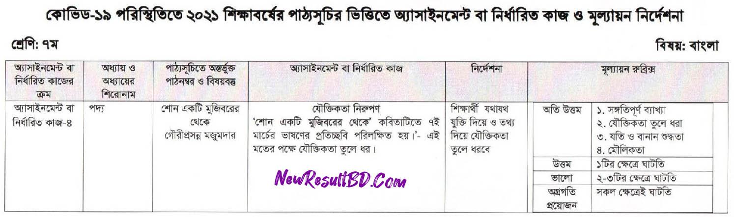 Class 7 Bangla assignment Answer 2021 PDF Download 1