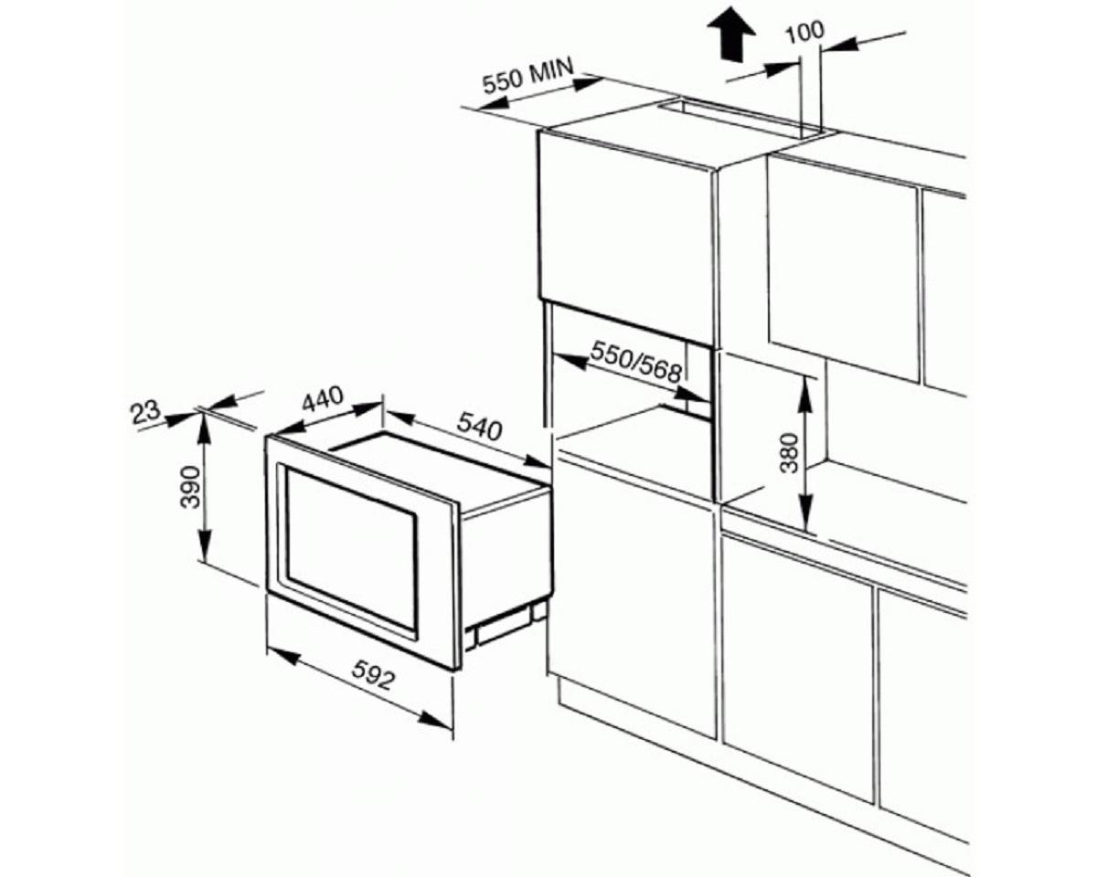 Размер мебели по встраиваемую технику
