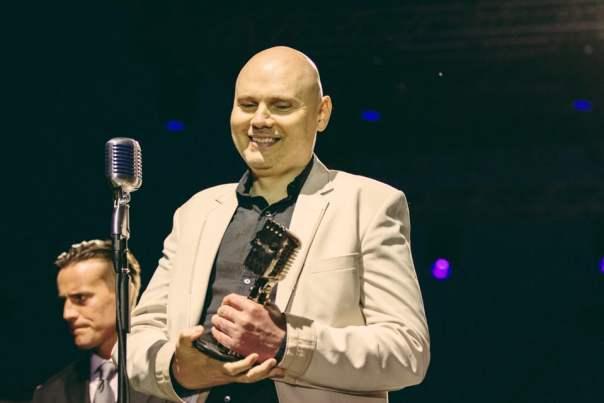 Billy Corgan accepting the AP Vanguard Award