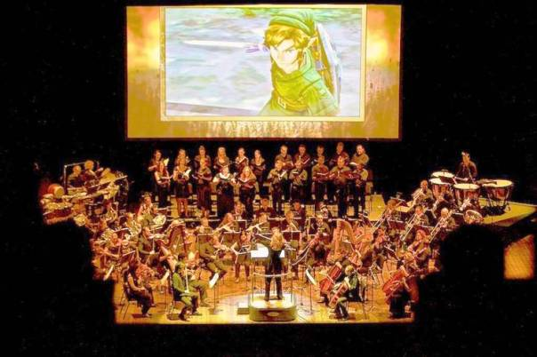"""A symphony orchestra plays theme music from """"The Legend of Zelda."""" Photo from The Wall Street Journal"""