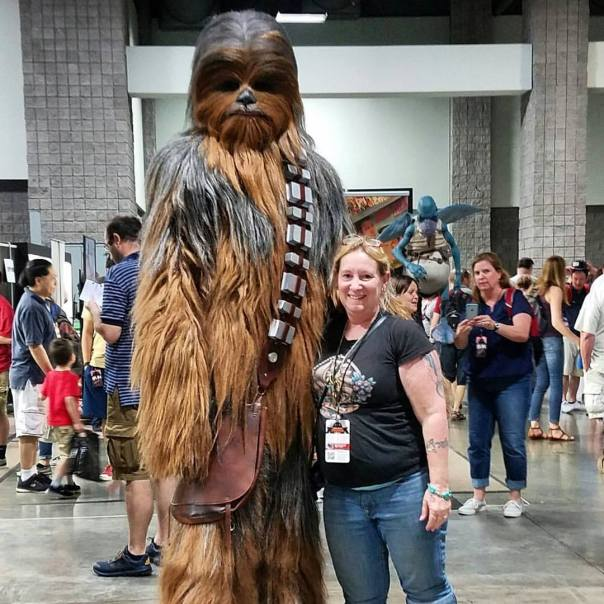 Cindy with a 7ft Wookie