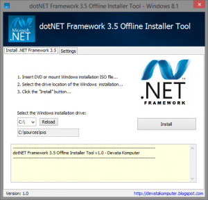 dotNET Framework 3.5 Offline Installer Tool náhled pro download