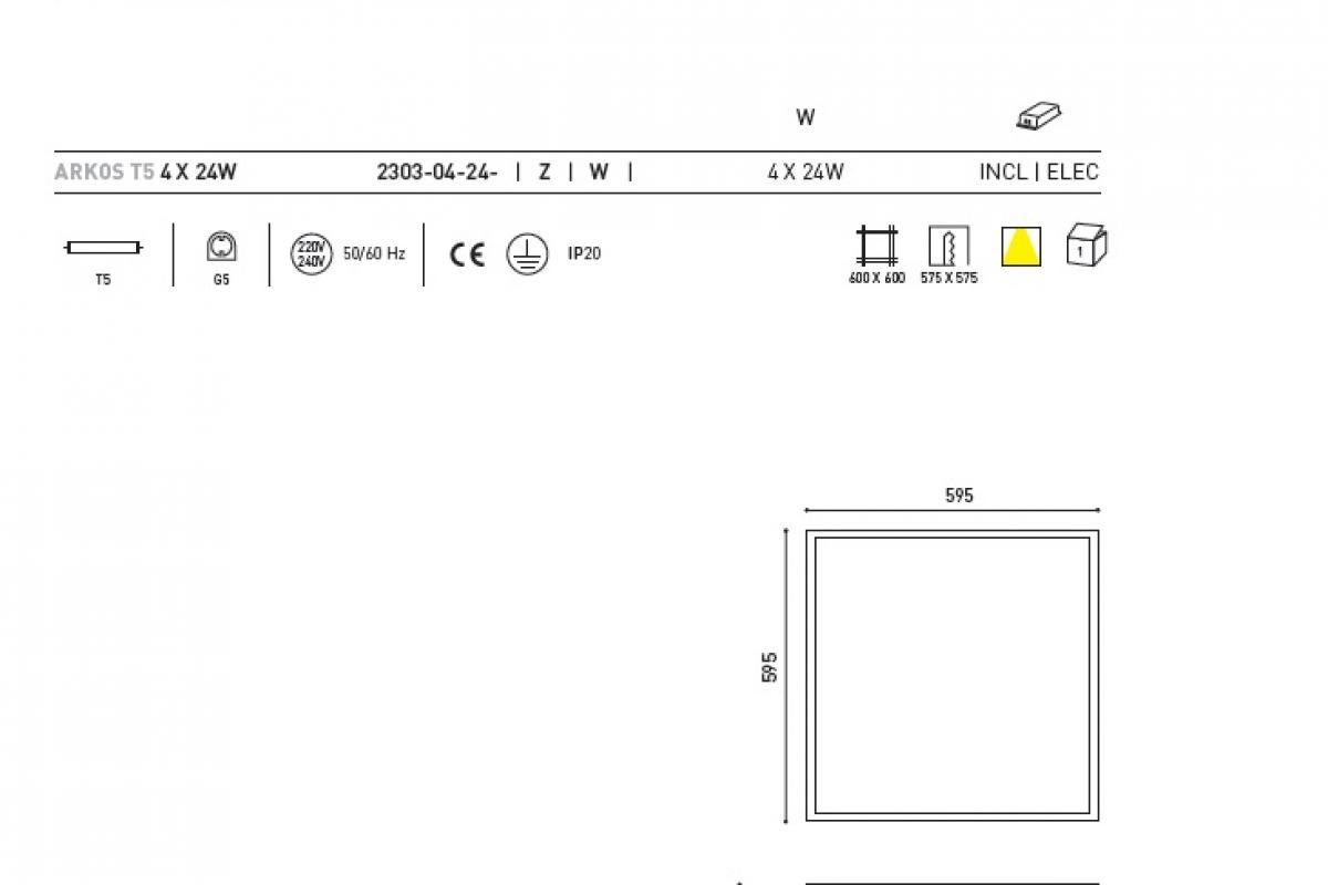 Arkoslight Arkos Lampshade T5c Recessed Square W