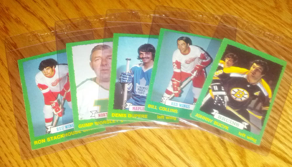 Stackhouse, Worsley, Dupere, Collins, Bucyk - 1973-74 OPC dark backs