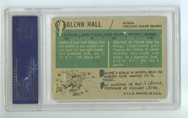 Glenn Hall - 1958-59 Topps back