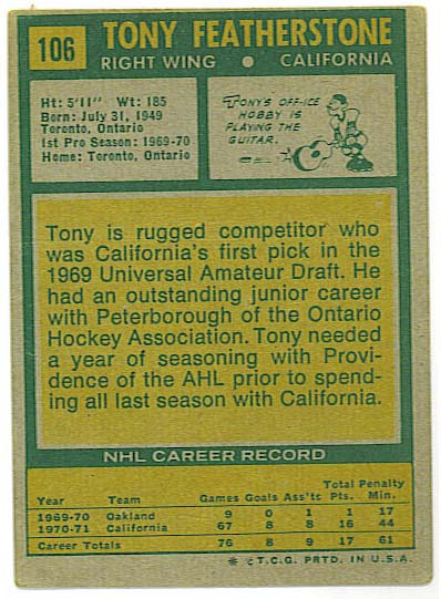 Tony Featherstone - 1971-72 Topps back