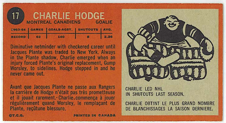 Charlie Hodge - 1964-65 Topps Tall Boys