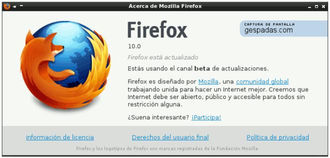 Firefox 10 Beta en Español