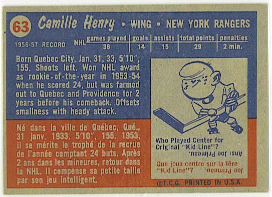 Camille Henry - 1957-58 Topps back