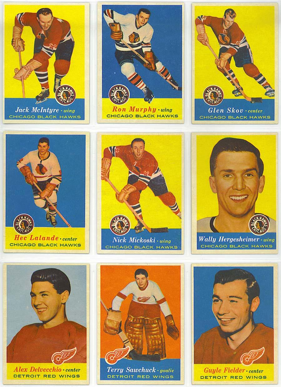 1957-58 Topps Hockey cards 28-36