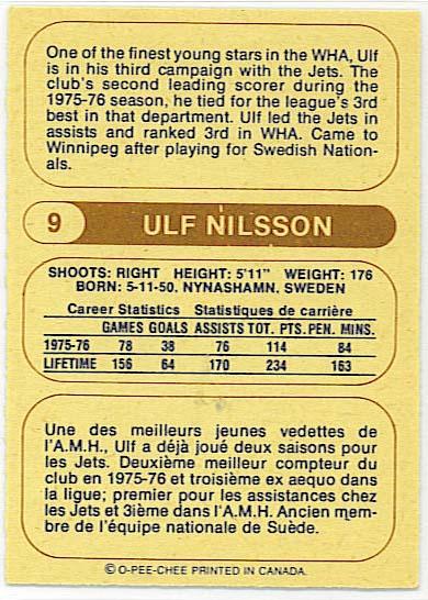 Ulf Nilsson - 1976-77 OPC WHA back