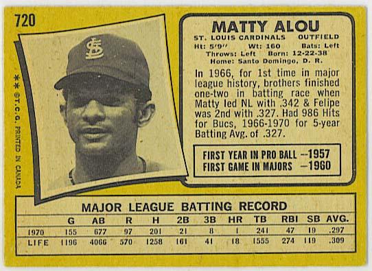 Matty Alou - 1971 OPC baseball