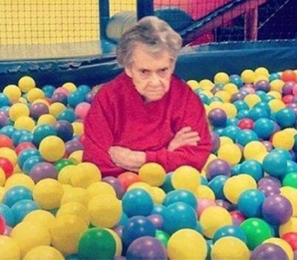 Image result for old lady sitting in balls
