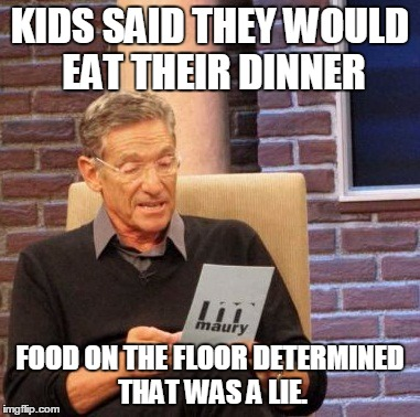 Maury Lie Detector Meme | KIDS SAID THEY WOULD EAT THEIR DINNER FOOD ON THE FLOOR DETERMINED THAT WAS A LIE. | image tagged in memes,maury lie detector | made w/ Imgflip meme maker