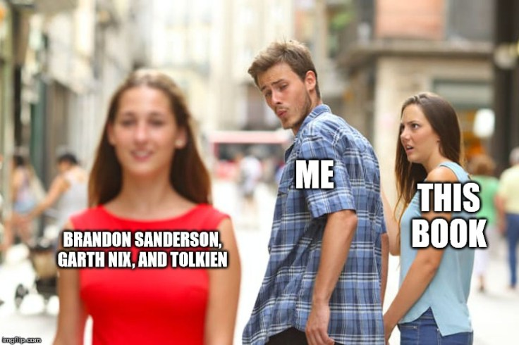 Distracted Boyfriend meme saying Me, This Book, and Brandon Sanderson, Garth Nix, and Tolkien