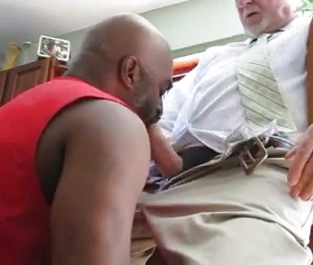Bearded Old Guy Face Fucking A Black Stud