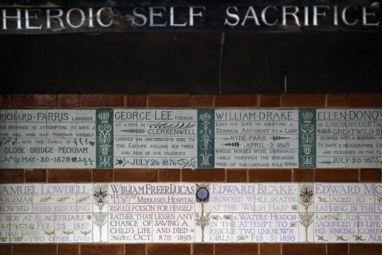 The memorial wall in Postman's Park, London (Photo: Dan Kitwood/Getty Images)