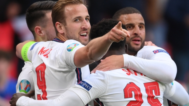 England fans pray the Three Lions stick the boot into Germany during their  Euro 2020 clash at Wembley