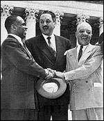 Pictured from left to right: George E.C. Hayes, Thurgood Marshall, and James Nabrit