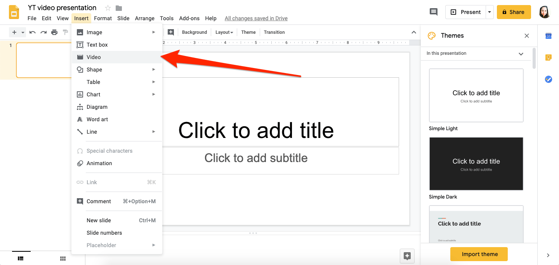 youtube video in a google slides slideshow
