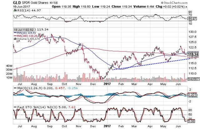 Technical chart showing the performance of the SPDR Gold Shares (GLD) over the past year