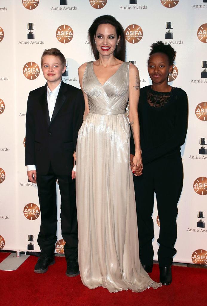 Angelina Jolie with Shiloh and Zahara.  / David Livingston / Getty Images