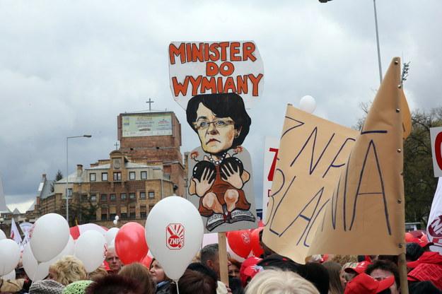 Protest nauczycieli /Tomasz Gzell /PAP