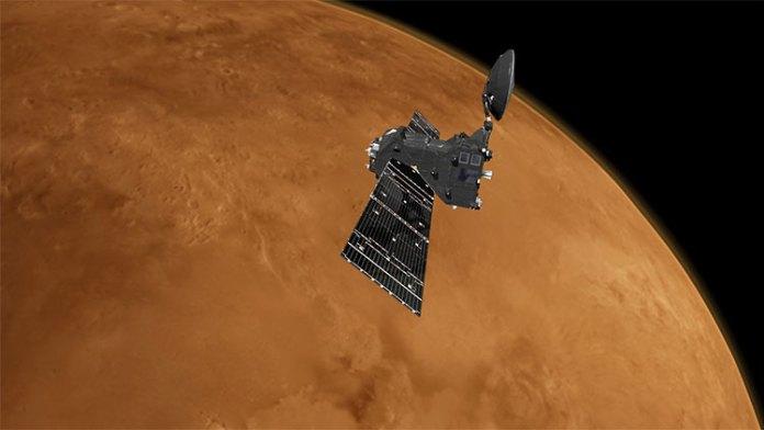 Tàu thăm dò TGO bay quanh sao Hỏa.