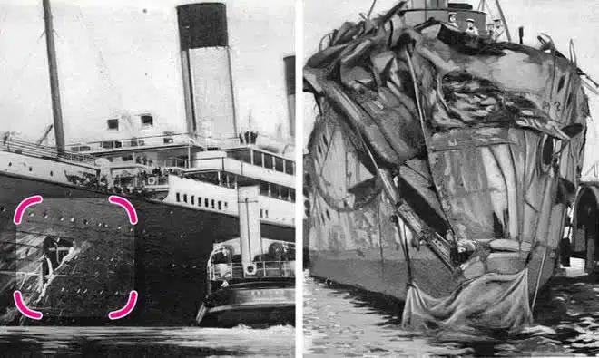 Vụ va chạm của tàu Olympic (trái) và Hawke (phải)