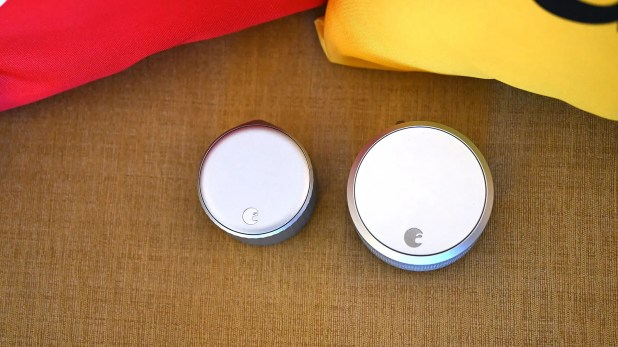 Gadgets: Here's a size comparison between the new Wi-Fi Smart Lock (left) and the August's previous Smart Lock Pro (right).