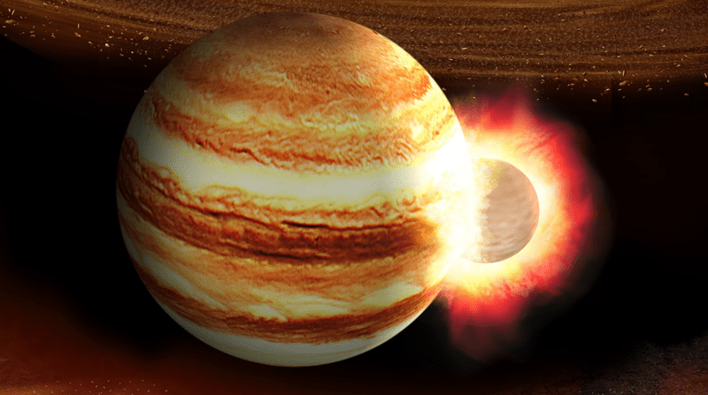 Artist's concept of a collision with Jupiter.