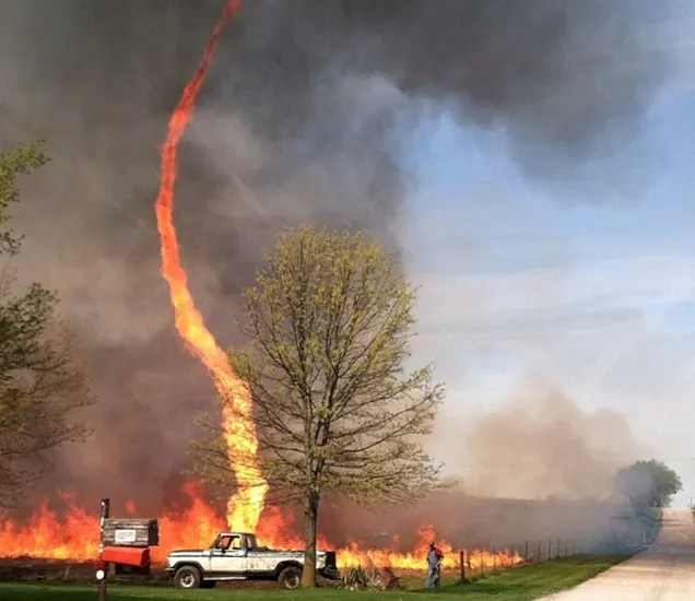 Spectacular fire tornado from hell is here to kill us all