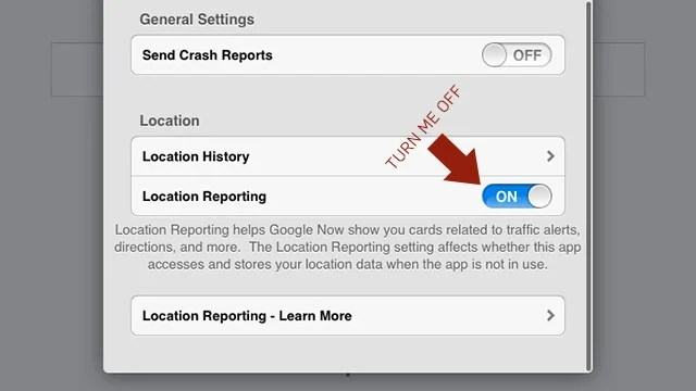 image showing option to turn off reporting
