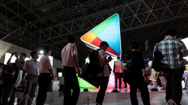 Android: Attendees in line at the Google Play booth during the Tokyo Game Show 2018 in Chiba, Japan.