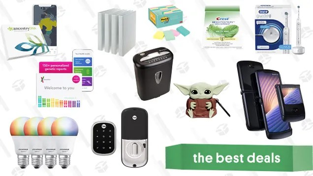 jwxsdxby6ucis3c01emm Sunday's Best Deals: Smart Home Products, At-Home DNA Ancestry Kits, Oral-B Guide Smart Toothbrush, Crest Whitestrips, Motorola Razr 5G, Baby Yoda AirPods Case, Office Supplies, and More | Gizmodo