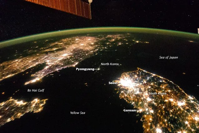 North Korea seen from space reveals a country living in the dark