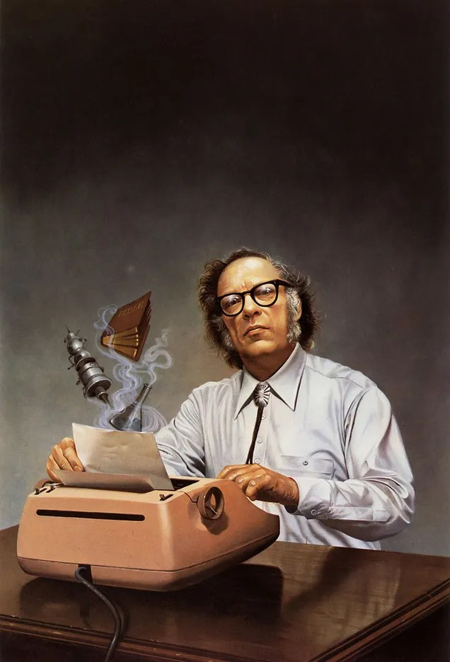 Rowena Morrill's painting of Isaac Asimov, before posterization with a quote over his head.