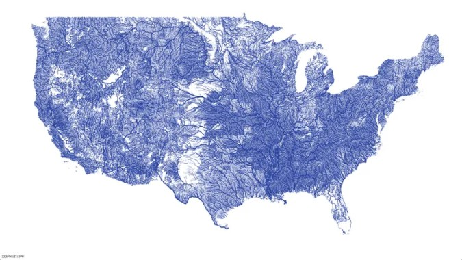 A map of all the rivers in the United States  and nothing else Just how many rivers are there in the United States  Based on this map  a  hell of a lot more than you might think