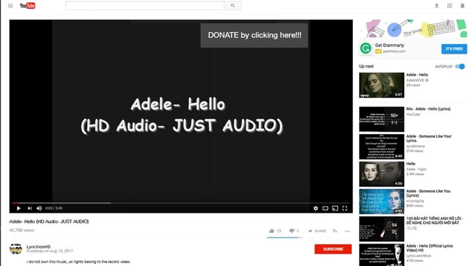 Hello Adele Lyrics Video